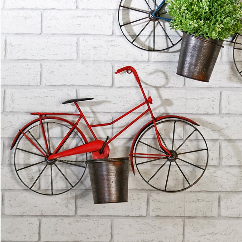 ... Pflanztopf Kräutertopf Wanddekoration - Fahrrad - aus Metall rot