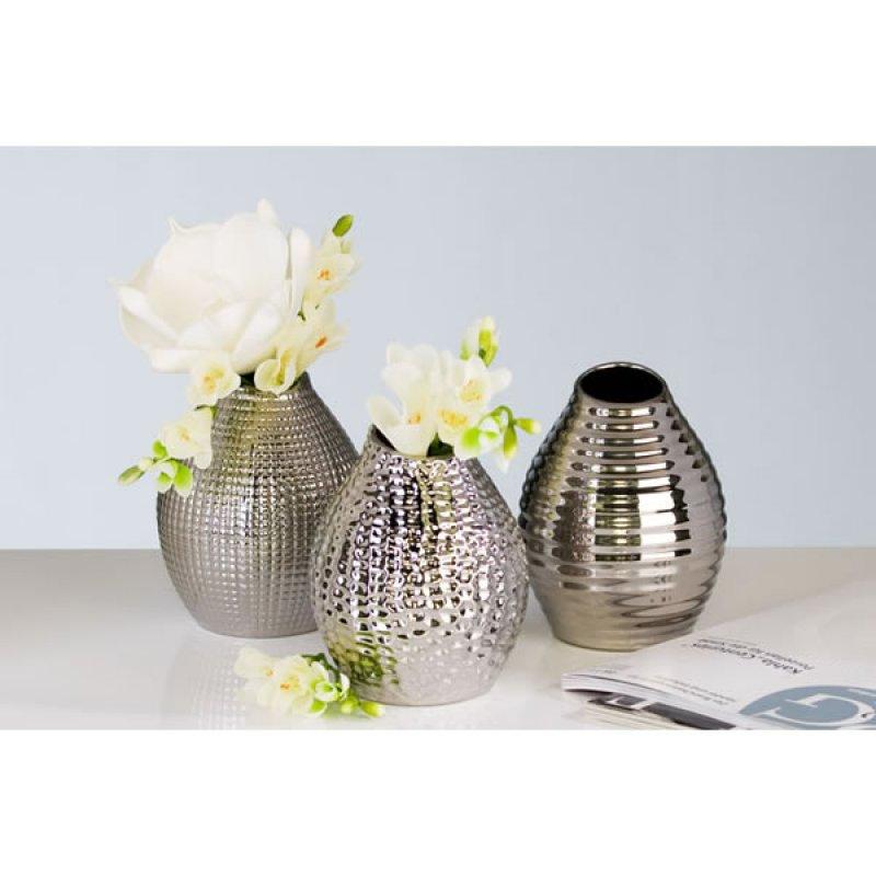 dekorative vase silberfarben casablanca design 3 vasen 45. Black Bedroom Furniture Sets. Home Design Ideas