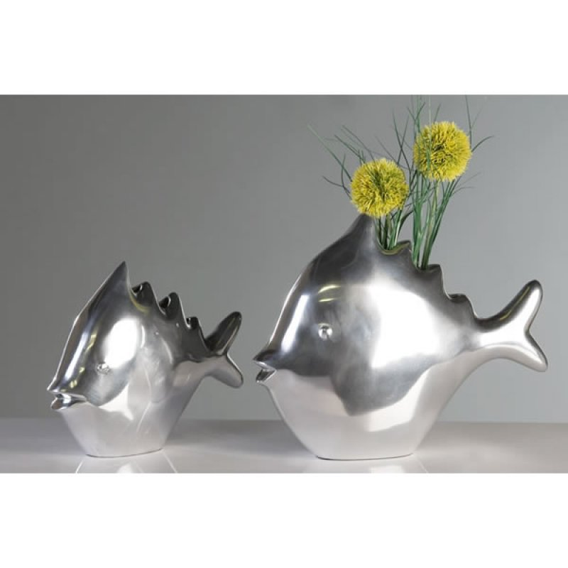 formsch ner fisch gro alu skulptur vase figur dekoration. Black Bedroom Furniture Sets. Home Design Ideas
