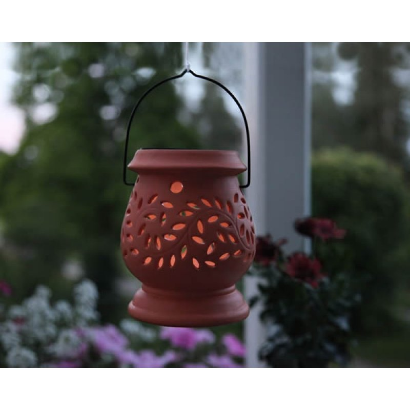 led solar laterne clay lantern terracotta 1 cool white led solarpanel. Black Bedroom Furniture Sets. Home Design Ideas