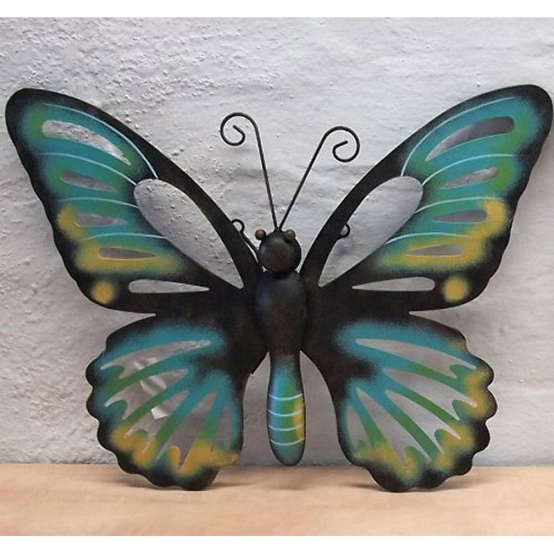 wanddeko schmetterling blau wanddekoration garten deko wand butterfly. Black Bedroom Furniture Sets. Home Design Ideas