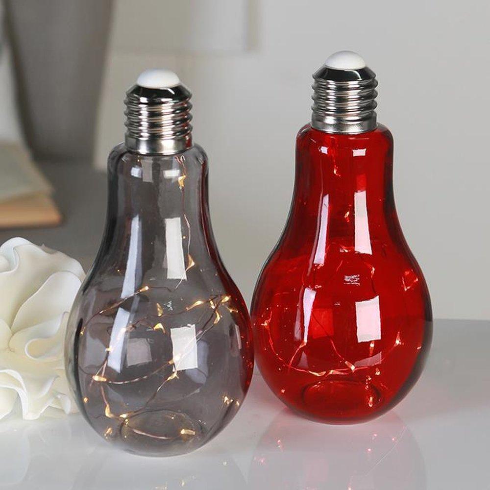 dekoleuchte gl hbirne aus glas rot lichterkette mit. Black Bedroom Furniture Sets. Home Design Ideas
