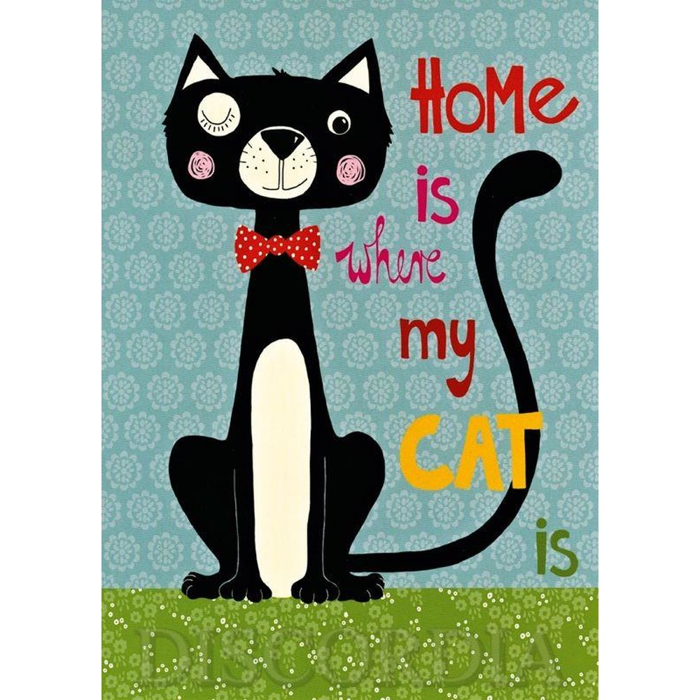 Holz Bild- home is where my cat is-blau