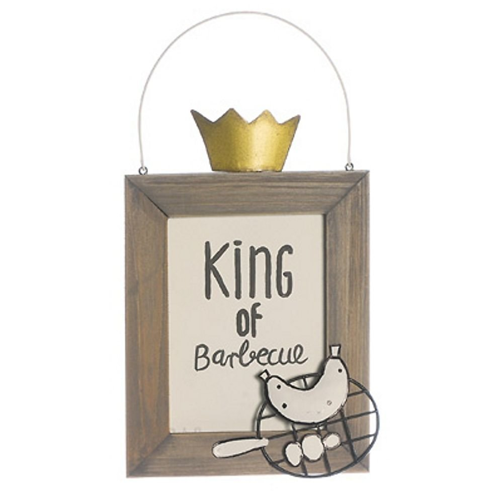 Originelles Holzschild Schild King of the barbecue Grill König